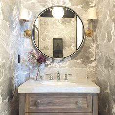 Alice Lane Home Collection   Wallpapered powder room bath