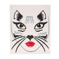 Glittery Black and Grey Cat Face Tattoo
