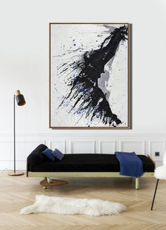 CZ Art Design - Hand painted Vertical minimalist painting on canvas #MN321B, neutral colors, black, white, blue, grey. For minimal home.