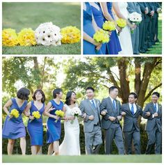 Erica Houck Photography Wedding the details blue and gold wedding bridesmaids groomsmen bridal party walking happy bouquet bride groom laughing  clovis fresno photographer