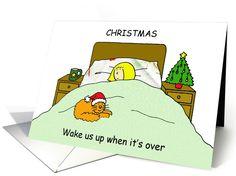 Christmas Bah Humbug woman with cat humour. card
