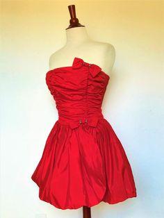 3dbf70d1b09 80s Red Gunne Sax Jessica McClintock Corset Prom Dress   Vintage 1980s Pouf  Skirt Party Dress   Retro Red Mini Dress   Small size
