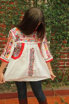 Heirloom white and multi colored embroidered Mexican Peasant top