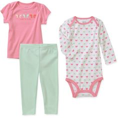Child of Mine by Carters Newborn Baby Girls' 3 Piece Tee, Bodysuit and Pant Set