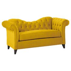 Ginger Sleeper Sofa - this sofa is in velvet and it is an intense yellow, yet, I like it!