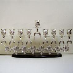 Silver plated Hanukkah Menorah candle holder on wood stand Judaica Israel Gift