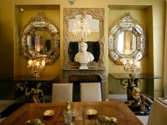 - From Coco Chanel's apartment at 31 Rue Cambon    I love mirrors, and busts.