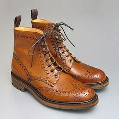 Joseph Cheaney Tweed brogue boot in Almond Grain Ohhhhh how I love brogue style anything! Mens Smart Shoes, Men S Shoes, Men Dress, Dress Shoes, Country Boots, Fashion Shoes, Mens Fashion, Mens Attire, Designer Boots