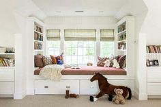 The Built In Daybed With Storage Kids Window Seat Daybed Transitional Girls Room Home Designing Inspirat contemporary elegant design small decorating house interior design apartment decoration large room pictures wallpaper hd Girls Bedroom, Girl Room, Bedroom Decor, Girls Daybed, Bedrooms, Bookshelf Bed, Bookshelves Built In, Built Ins, Bed Designs With Storage