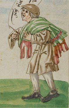 Ein Jude mit Geldbeutel in der Hand begegnet dem armen Leihnehmer auf offenem Feld