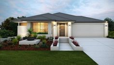 Stylish elevation with rendered facade and feature planter box