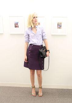 Jane Keltner de Valle in a Kitsuné top, Sportmax skirt, Givenchy shoes and Jason Wu bag