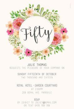 50th birthday invitation, floral, flowers, peonies, roses, 60th birthday, 40th birthday, 30th birthday 80th birthday 70 birthday invitations, template