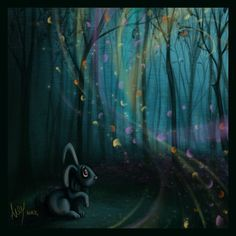 """Colors Of The Wind""  #colorsofthewind #forest #bunny #rabbit #wind #colors #flowerpettals #trees #alexnandy #digitalart #illustration"