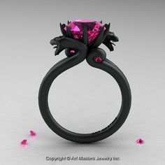 Victorious, this exclusive Modern Dragon 14K Matte Black Gold 3.0 Ct Pink Sapphire Engagement Ring R601-14KMBPS evokes absolute excellence is sure