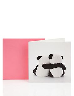 Cuddling Pandas Blank Greetings Card