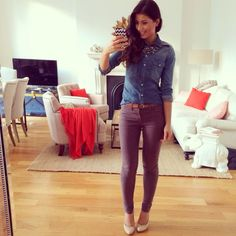 Denim shirt , gray skinny jeans