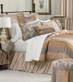Montclair Silk and tapestry luxury bedding, slate blue, toffee, and marble Design Nashville