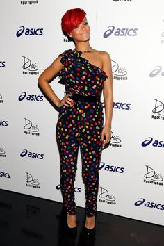 Pin for Later: A Tribute to Rihanna's Killer Street Style on Her 28th Birthday  A multicolor polka-dot D&G jumpsuit was Rihanna's look of choice for an LA concert afterparty in July 2010.