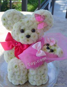 FlowerToy Mommy Bear made from Fresh Flowers! We Ship Nationwide. www.FlowerToy.com