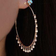 14kt gold diamond drip hoops