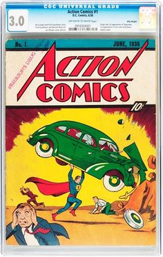 Action Comics Superman Greeting Card beautiful quality giclee printed with deep rich color and sharp detail on velvety Crane Museo Card with matching envelope. Made in USA by Museum Outlets. Also see Vintage Superhero Comic Posters Blank 5 x 7 Dc Comics Poster, Comic Poster, Marvel Comics, Comic Art, First Superman Comic, Superman 1, Most Expensive Comics, Valuable Comic Books, Action Comics 1