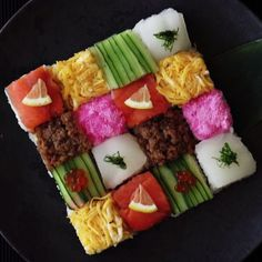 Mosaic Block Sushi ~ Recipe When sushi truly becomes an art form.<br> How to make a Mosaic Block Sushi. Think Food, Love Food, Dessert Party, Yummy Food, Tasty, Asian Recipes, Food Videos, Food To Make, Food And Drink