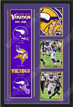 One framed Minnesota Vikings heritage banner with three 8 x 10 inch Minnesota Vikings photos of Kevin Williams, double matted in team colors to 22 x 34 inches.  The lines show the bottom mat color.  $189.99 @ ArtandMore.com