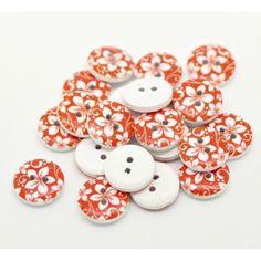 Red Flower Print Wooden Buttons,