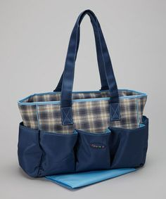 Take a look at this Blue & Cream Plaid Diaper Bag by Alfa on #zulily today!
