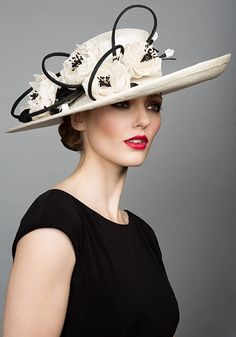 Rachel Trevor Morgan S/S 2015 Ivory Fine Straw Sidesweep with straw roses and twist.