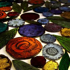 Stained Glass Leaf Pattern I emptied a colourful kiln