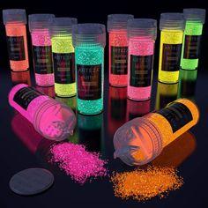 Neon & Holographic Glitter Shaker Jars - Set of 54 | ARTEZA Glow Stick Jars, Glow Sticks, Glow In Dark Party, Holographic Glitter, Resin Crafts, Glow Crafts, Glow Stick Crafts, Glitter Crafts, Party Time