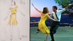 A look at Mia's dance-able yellow dress design created for Emma Stone's aspiring actress character in 'La La Land' by costume designer Mary Zophres. From Hollywood Reporter.