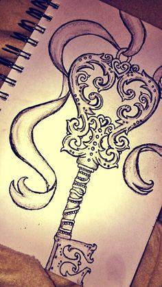 Key and ribbons #key #tattoidea #drawing #ribbons #lovedrawing