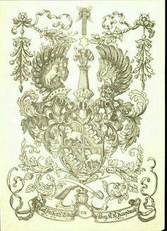 Exlibris: Wappen der Freiherr von Töllfekor und Colberg / Coat of Arms of The Freiherr von Töllfekor und Colberg / Armas del Freiherr von Töllfekor y Colberg