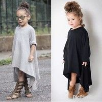New and high quality! Type: the girl casual Asymmetric loose dress Style: south Korean style Materia