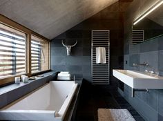 17 Modern Luxury Bathroom Designs: Black Gray Color Schemes