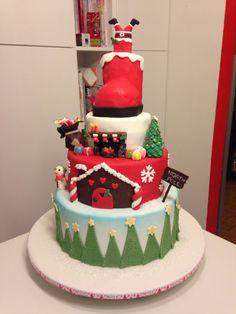 Christmas cake with Santa boot