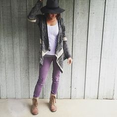 @foreverleahyoung accessorizes her Stitch Fix waterfall cardigan with colored denim & lace-up boots. #FixedOnFall