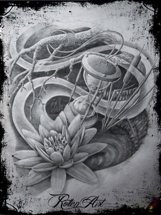water lily hourglass tattoo by dmrotten