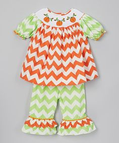 Take a look at this Orange & Green Pumpkin Top & Pants - Infant & Girls by Dibble Dabble Dandy on #zulily today!