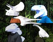 Complete Set of Dinosaur Mask Patterns - Make Your Own T-Rex, Raptor, Pterodactyl and More! 50% off!