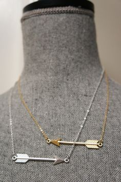 Arrow Necklace ... Cupids Arrow Necklace .....Gold OR Silver.... You Choose on Etsy, $20.00