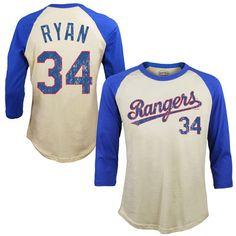 Men's Texas Rangers Nolan Ryan Majestic Threads Cream Softhand Cotton Cooperstown 3/4-Sleeve Raglan T-Shirt