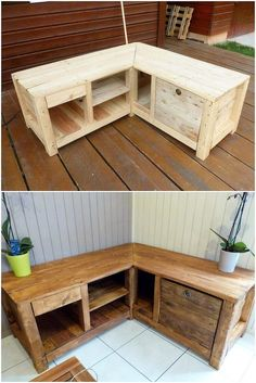 Simply stylishly designed L shaped, wood pallet media table cabinet is a must item to make it part of your house right now! This media table cabinet is rather designed in much simple formations where you will view the fantastic appearance use of the drawers as well as shelves too.