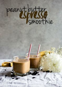 Peanut Butter Espresso Smoothie | A creamy peanut butter smoothie with a hint of espresso--the perfect breakfast smoothie! | thealmondeater.com