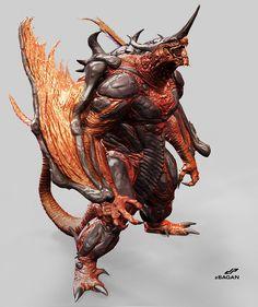 Monster Concept Art, Fantasy Monster, Monster Art, Creature Concept Art, Creature Design, Fantasy Creatures, Mythical Creatures, Beast Creature, Monster Design