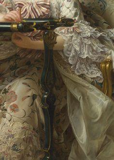 Madame de Pompadour à son métier de couture (Jeanne-Antoinette Poisson), 1763 François-Hubert Drouais. Detail