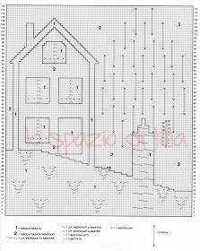 """lo spazio di lilla: Copertina per neonato ai ferri """" La casetta incantata """", spiegazioni e schema Hand Embroidery, Floor Plans, Diagram, Knitting, Knits, Cat, Disney, Crochet, Iron"""